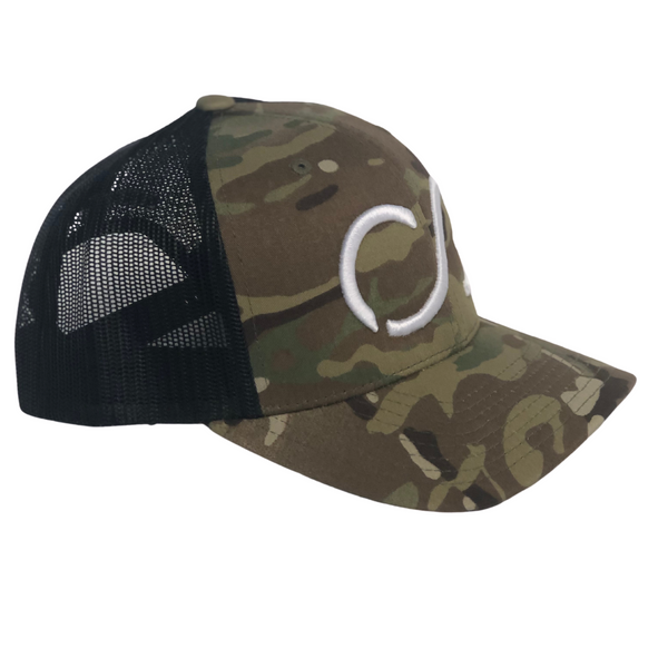 Classic Multicam green Snapback with Black mesh and White CG