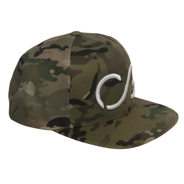 Flatbill Multicam Green Snapback with White CG 3-D embroidery