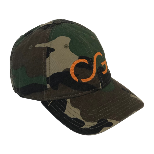 Camo with Orange Needlepoint Embroidered CG
