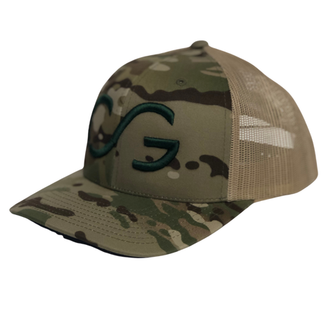 Classic Multicam green Snapback with Khaki mesh and Green CG
