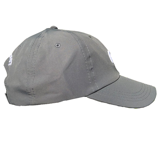 Dark gray athletic hat with small white 3D embroidery CG logo