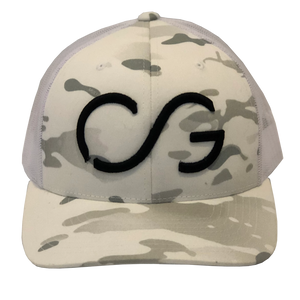 White Camo Classic SNAPBACK -multi-cam base/white mesh back with Black CG 3D embroidery