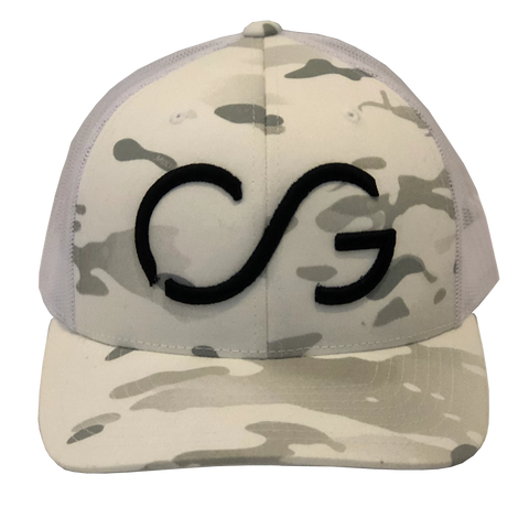 Classic Multicam White Snapback with White mesh and Black CG