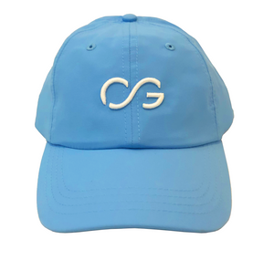Carolina blue athletic hat with small white 3D embroidery CG logo