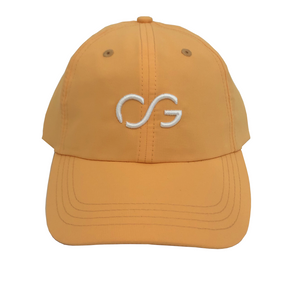 Buff Orange athletic hat with small white 3D embroidery CG logo
