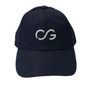 Navy athletic hat with small white 3D embroidery CG logo
