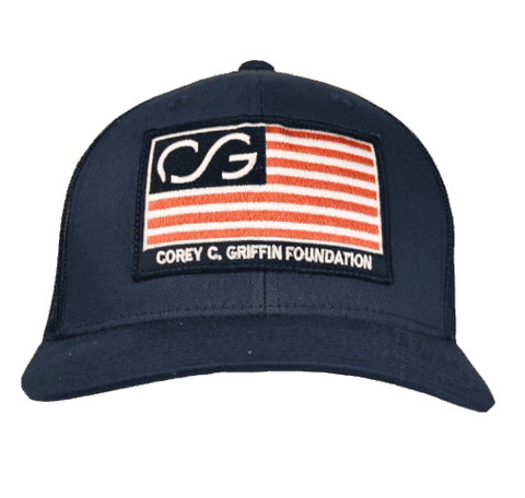 Flag SNAPBACK - Navy front with navy mesh back. Flag on front and COREYFEST on back