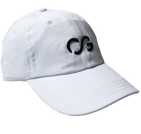 White athletic hat with small black 3D embroidery CG logo