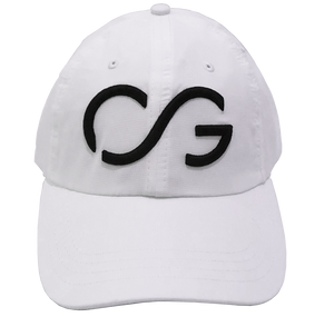 White athletic hat with black 3D embroidery CG