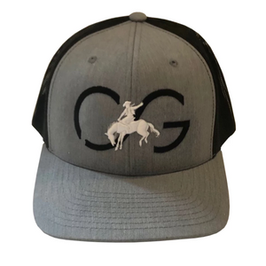 Snapback hat-heather gray base with black CG & white bronco/black mesh back