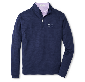 Peter Millar, Camo Jacquard Perth Performance Pullover- Navy