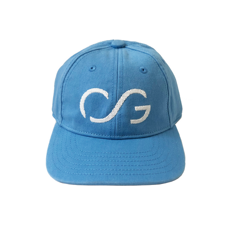 For Kids-Coast Blue Hat with White Needlepoint Embroidered CG