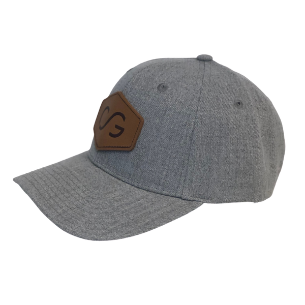 Heathered gray snapback with leather patch