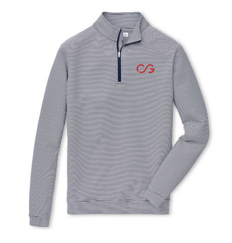 Peter Millar, Perth Quarter Zip- Navy Blue Stripe
