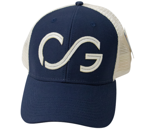 Trucker hat- soft mesh sideline cap- Navy/natural