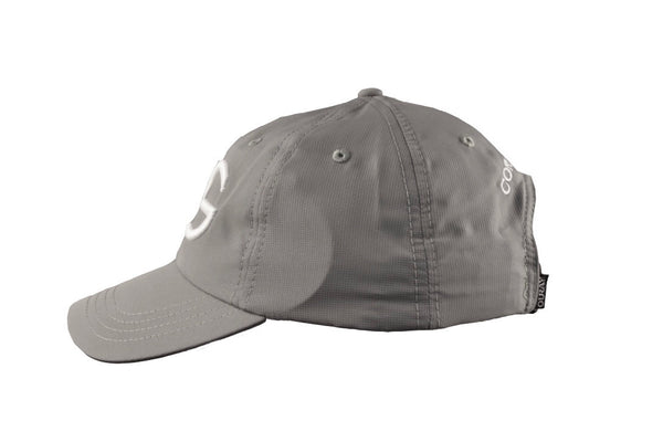 Silver athletic hat with White 3D embroidery CG