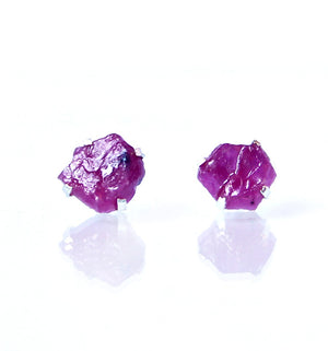 Raw Ruby Earrings Set in 925 Sterling Silver Studs