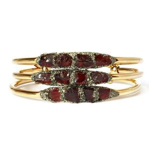 Stack of January birthstone red garnet bracelets