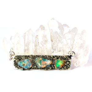 Raw Australian Opal bar necklace