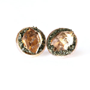 April birthstone herkimer diamond stud earrings