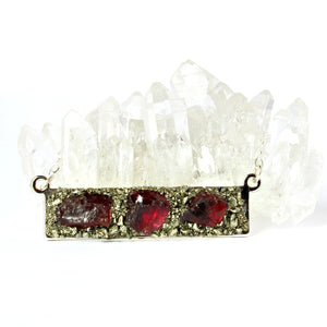Red January garnet bar necklace