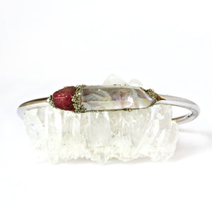 July birthstone raw ruby cuff bracelet