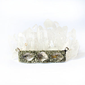 Herkimer diamond silver bar necklace