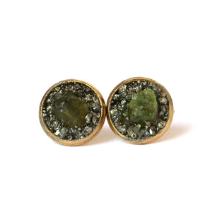 August birthstone peridot gold stud earrings
