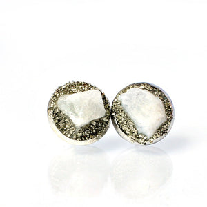 June birthstone moonstone silver studs