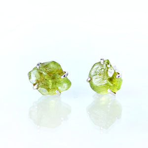 Raw Peridot Earrings Set in 925 Sterling Silver Studs