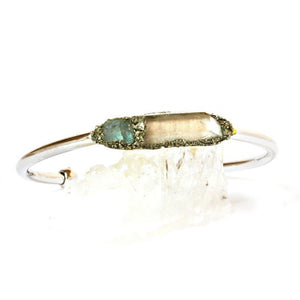 Aquamarine and clear quartz bracelet with silver band