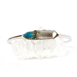 Raw crystal clear quartz and tanzine bracelet jewelry