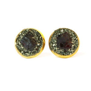 Garnet earrings set in crushed pyrite