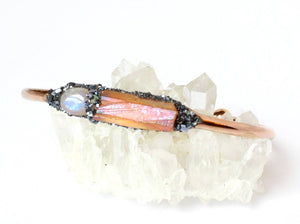 Lea Spirit natural moonstone and citrine rose gold bracelet