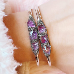 Amethyst cuff bracelet in gold silver or rose gold