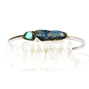 natural turquoise and kyanite bracelet set in crushed pyrite