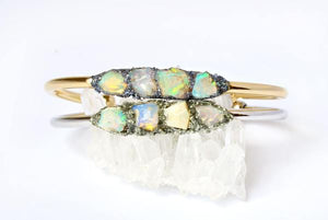 natural opal bracelet set of two stacked one on the other