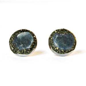 Natural Sapphire Stud Earrings Set in Crushed Pyrite