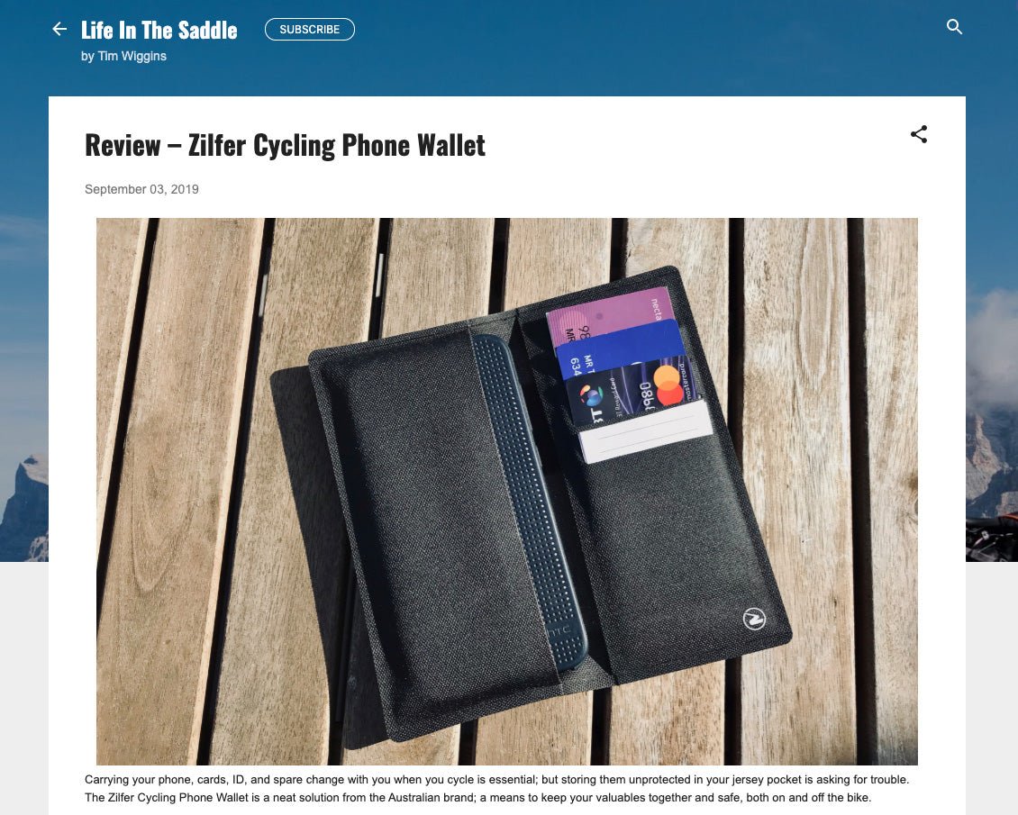 LifeInTheSaddle Tim Wiggins Zilfer Cycling Wallet Review