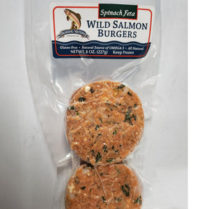 Wild Salmon Burgers with Spinach & Feta