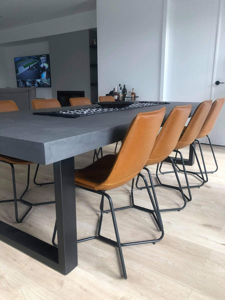 Charcoal Concrete Dining Table - Steel Loop legs