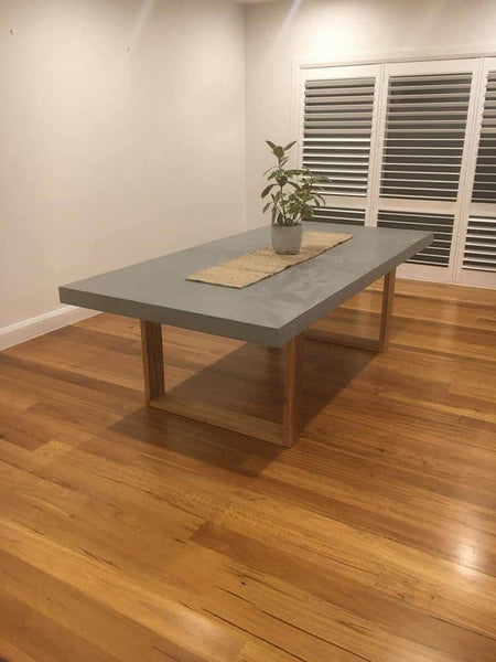 Concrete Dining Table Hardwood Legs