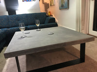 Square concrete coffee table steel legs