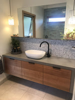 Floating wall hung concrete and timber Vanity