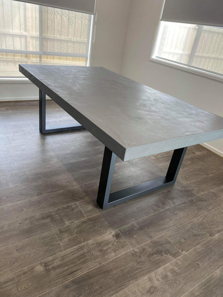 Concrete Dining Table - Steel Loop legs