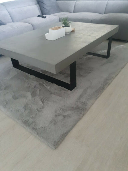 Concrete Coffee Table - Steel Loop legs