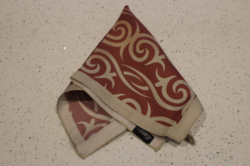 Abstract Brick Red Cream-Pocket Square-Kairos Trinkets