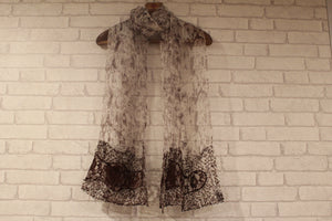 Brown snake skin with Lace detailing-Scarves-Kairos Trinkets
