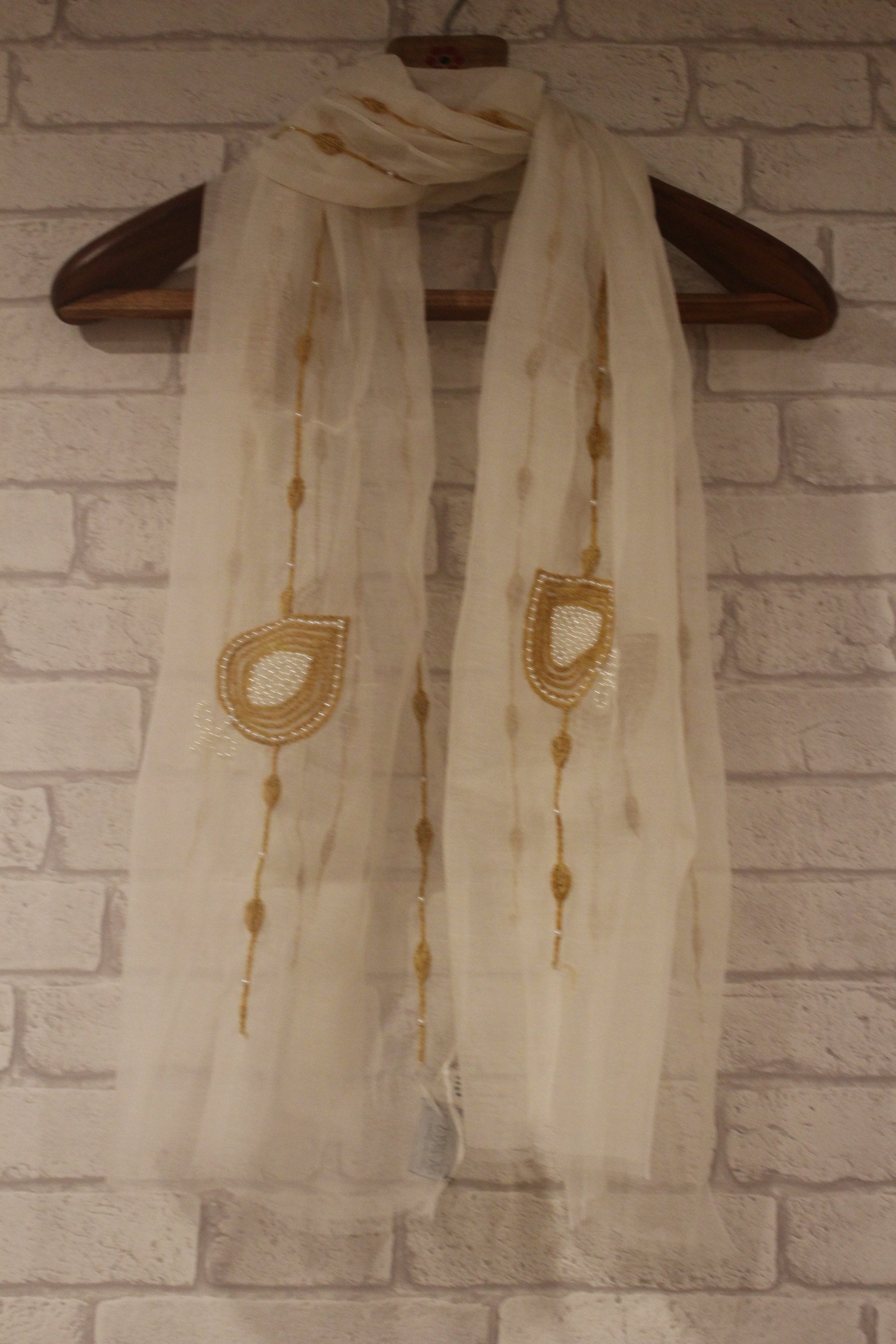 Tranquil White and Brown with Pearl embroidery-Scarves-Kairos Trinkets