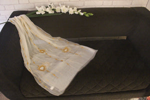Tranquil White and Brown with Pearl embroidery